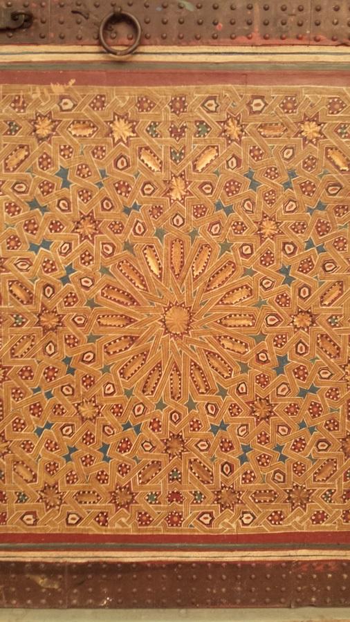 Detalhe da porta no museu de Marrakesh